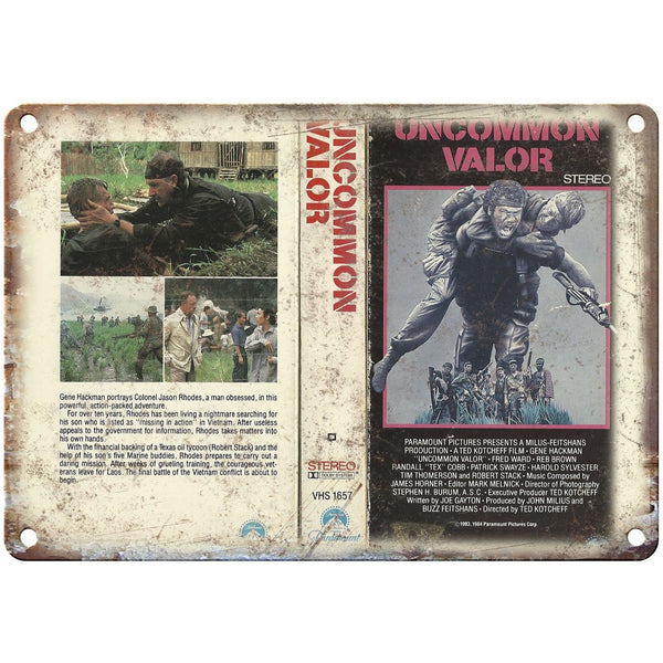 "Uncommon Valor Paramount Video VHS Box Art 10"" X 7"" Reproduction Metal Sign V28"