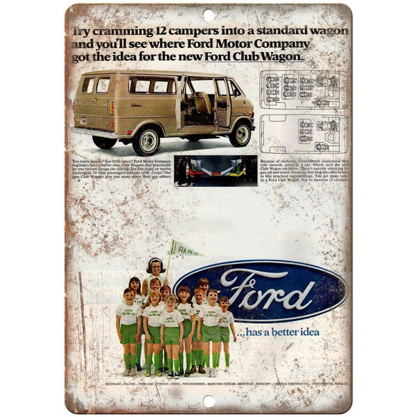 "1970's Ford Club Wagon Retro Ad 10"" x 7"" Reproduction Metal Sign"