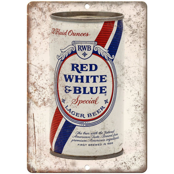 "Vintage Beer Can Red, White & Blue Lager 10"" x 7"" reproduction metal sign"