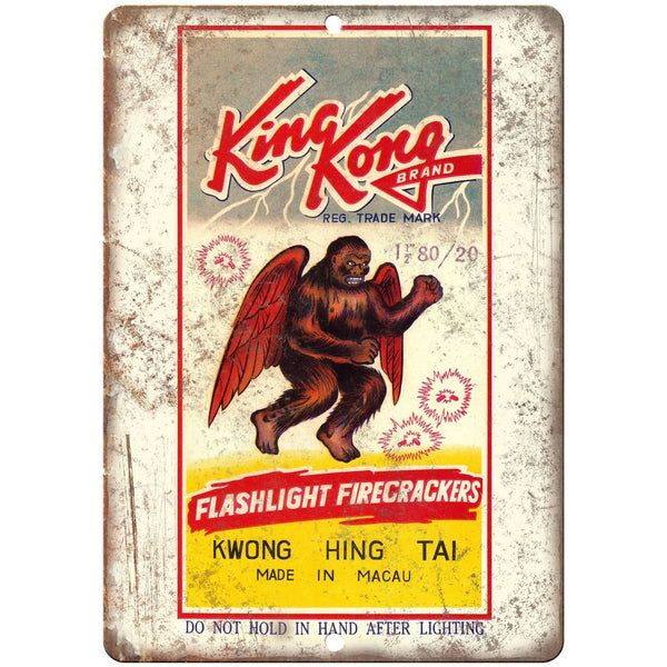 "King Kong Brand Firecracker Packaage Art 10"" X 7"" Reproduction Metal Sign ZD59"