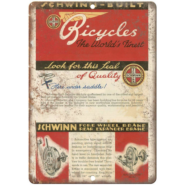 "1939 Schwinn Bicycles The Worlds Finest - 10"" x 7"" Retro Look Metal Sign"