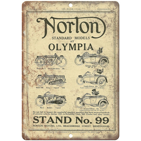 "Norton Motorcycle Olympia Standard No. 99 10"" x 7"" Reproduction Metal Sign F49"