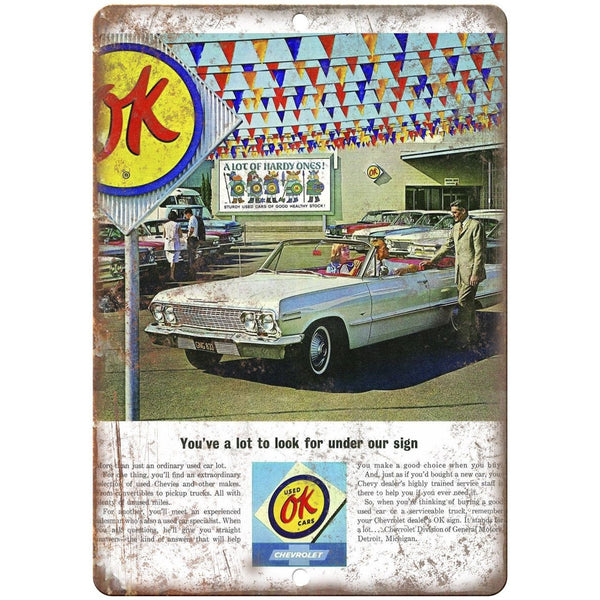 "Chevy Ok Used Cars Advertisment Retro Look 10"" x 7"" Reproduction Metal Sign"