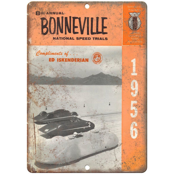 "1956 Bonneville National Trials, Ed Iskenderian 10"" x 7"" Retro Metal Sign"