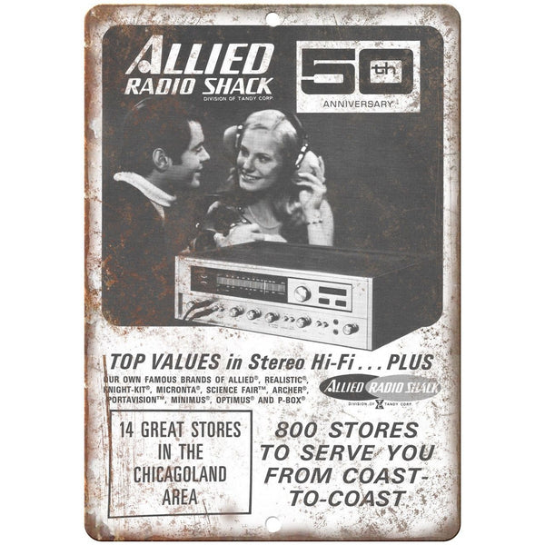 "Allied Radio Shack 50th Anniversary Vintage Ad 10"" x 7"" Reproduction Metal Sign"