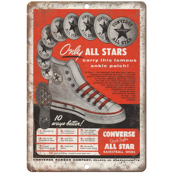 "Converse All Star Chuck Taylor sneaker head 10"" x 7"" Reproduction Metal Sign"