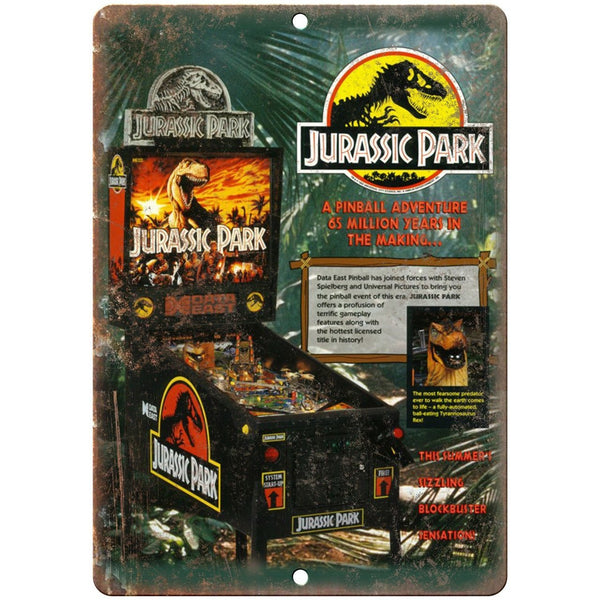 "Jurassic Park Vintage Pinball Machine Ad 10"" x 7"" Reproduction Metal Sign G223"
