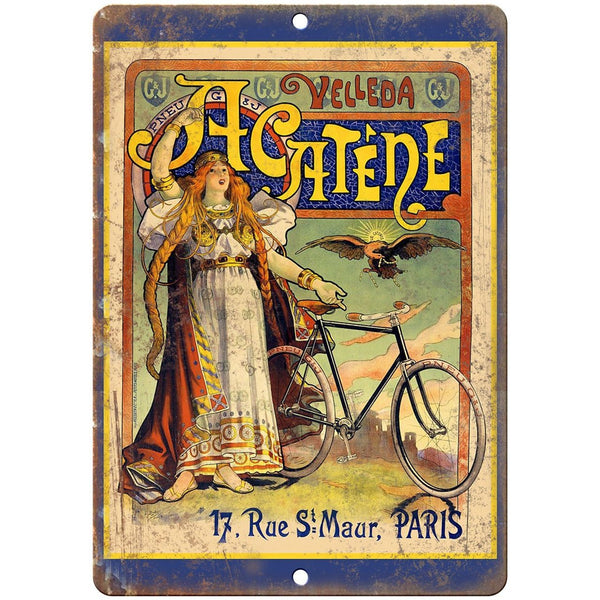"Velleda Acatene Paris Vintage Bicycle Ad 10"" x 7"" Reproduction Metal Sign B227"