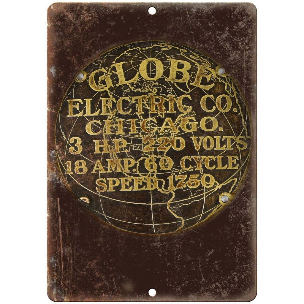 "Porcelain Look Globe Electric Co. Chicago 10"" x 7"" Retro Look Metal Sign"