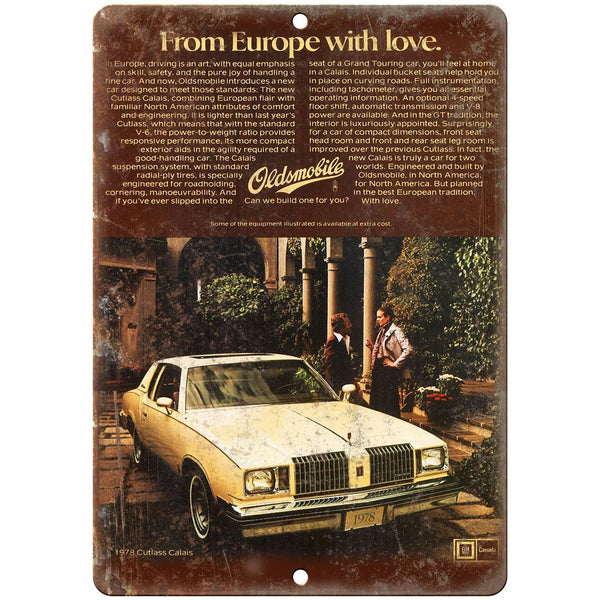 "1978 Oldsmobile Cutlass Supreme European Car Ad 10"" x 7"" Retro Metal Sign"
