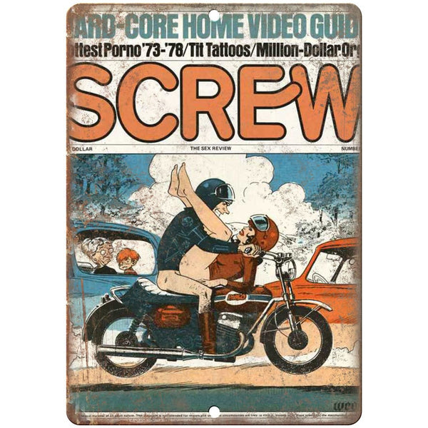 "Screw Magazine Porn 10"" x 7"" reproduction metal sign"