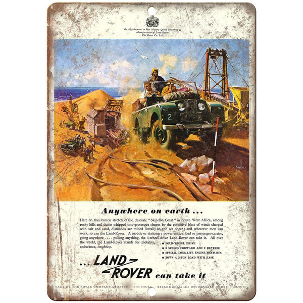 "Land Rover Jeep 4 Wheel Drive Vintage Ad - 10"" x 7"" Retro Look Metal Sign"