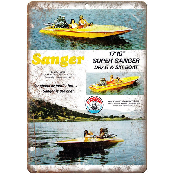 "Sanger 17'10"" Circle Boat Vintage Ad 10"" x 7"" Reproduction Metal Sign L85"