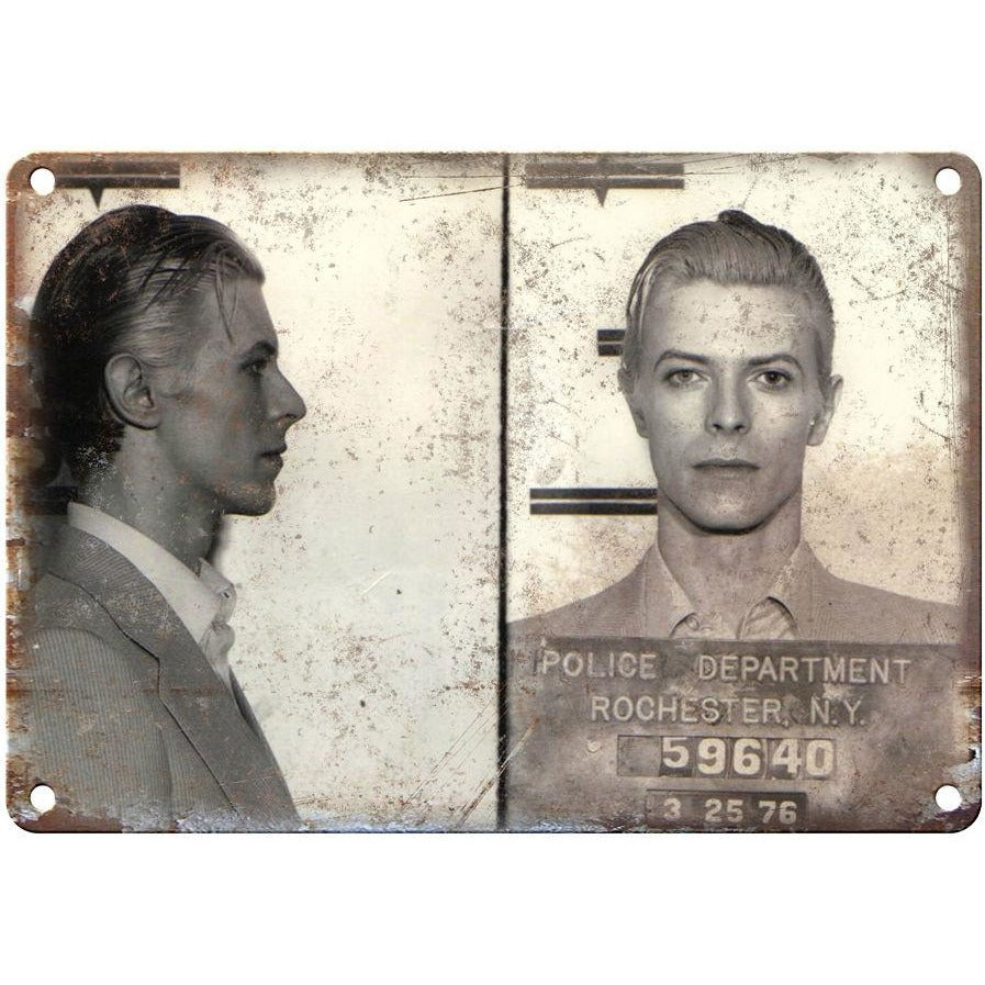 "1976 David Bowie Mug Shot RARE Rochester NY 10"" x 7"" retro metal sign"