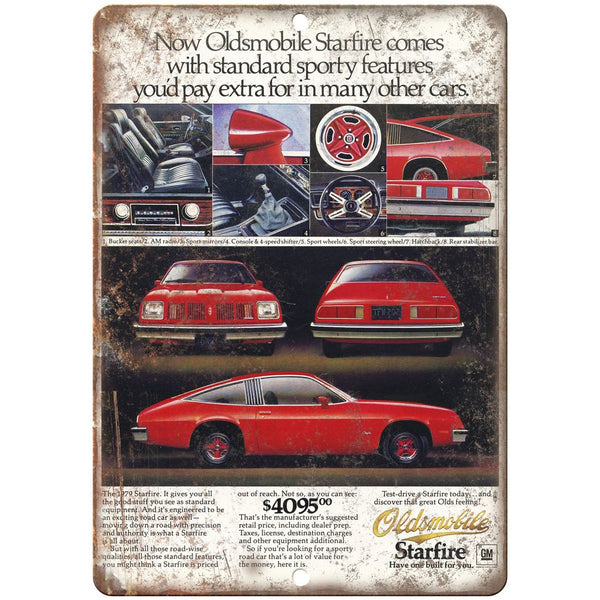 "1979 Oldsmobile Starfire Car Ad 10"" x 7"" Reproduction Metal Sign"