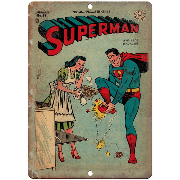 "Superman Vintage Comic Strip Ad 10"" X 7"" Reproduction Metal Sign J267"
