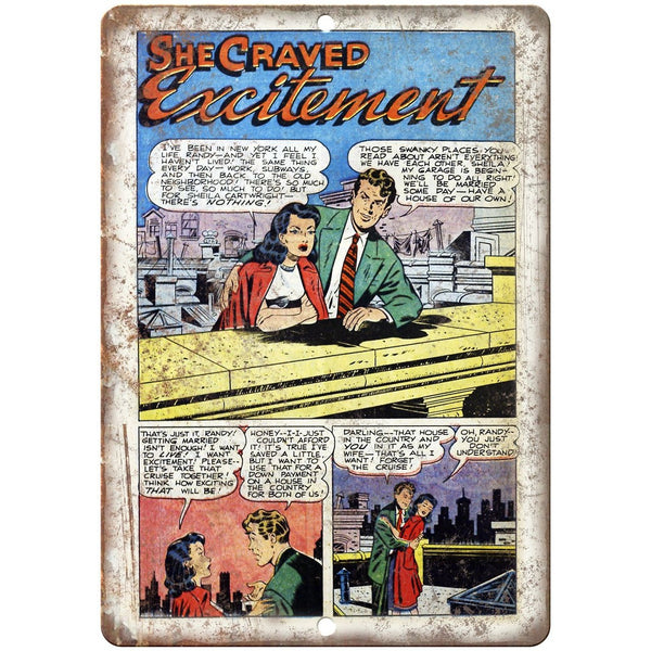 "Ace Comics She Craved Excitement Comic 10"" X 7"" Reproduction Metal Sign J418"