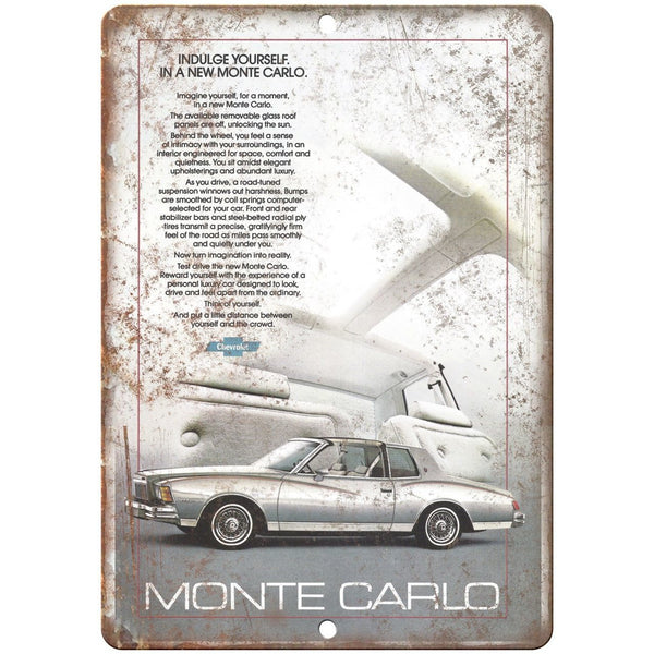 "Chevy Monte Carlo Retro Print Advertisment 10"" x 7"" Reproduction Metal Sign"