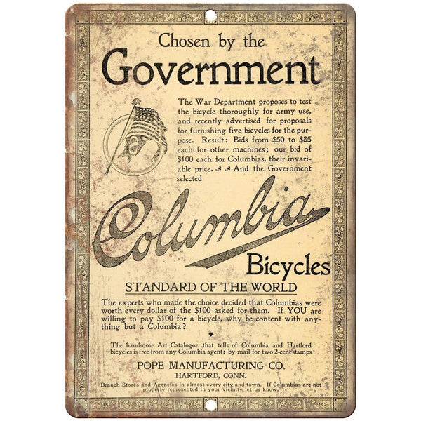 "Columbia Bicycles Vintage Ad 10"" x 7"" Reproduction Metal Sign B385"