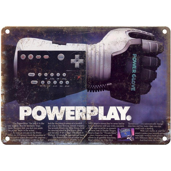 "Original Nintendo Power Glove, Rare Ad, 10"" x 7"" Reproduction Metal Sign"