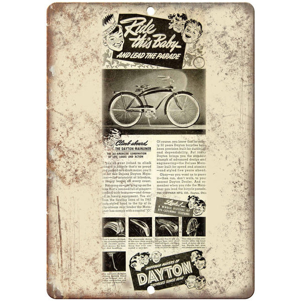 "Dayton Bicycles Vintage Art Ad 10"" x 7"" Reproduction Metal Sign B455"