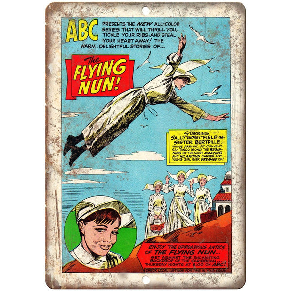 "The Flying Nun Vintage Comic Strip Art 10"" X 7"" Reproduction Metal Sign J429"