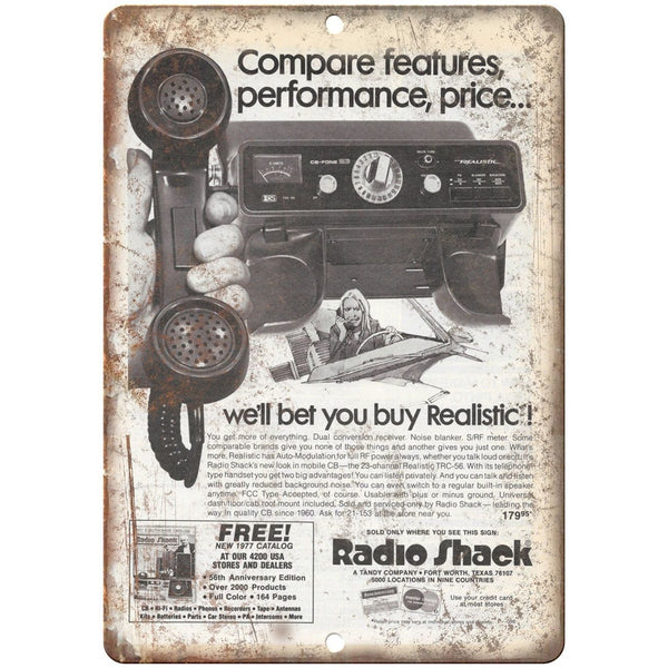 "Radio Shack Realistic Mobile CB Radio 10"" x 7"" Reproduction Metal Sign"