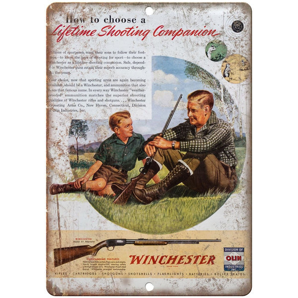 "Winchester rifle vintage ad 10"" x 7"" reproduction metal sign"