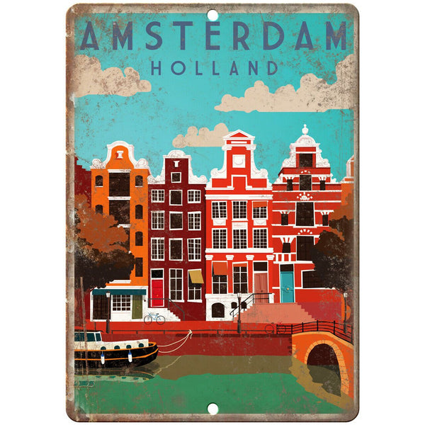 "Amsterdam Holland Vintage Travel Poster Art 10"" x 7"" Reproduction Metal Sign T24"