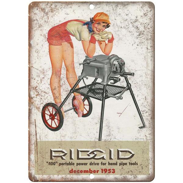 "1953 Ridgid Powet Tools Portable Power Drive - 10"" x 7"" Retro Look Metal Sign"