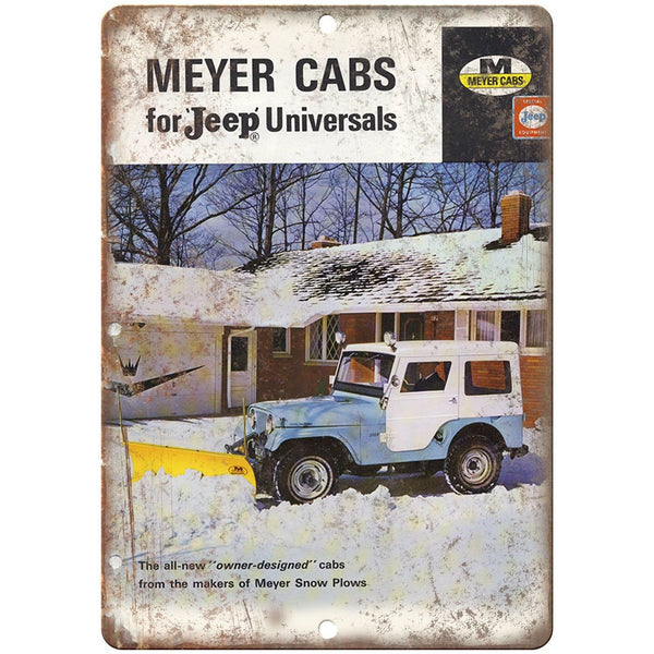 "RARE Meyer Jeep Cabs ad 10"" x 7"" Reproduction Metal Sign"