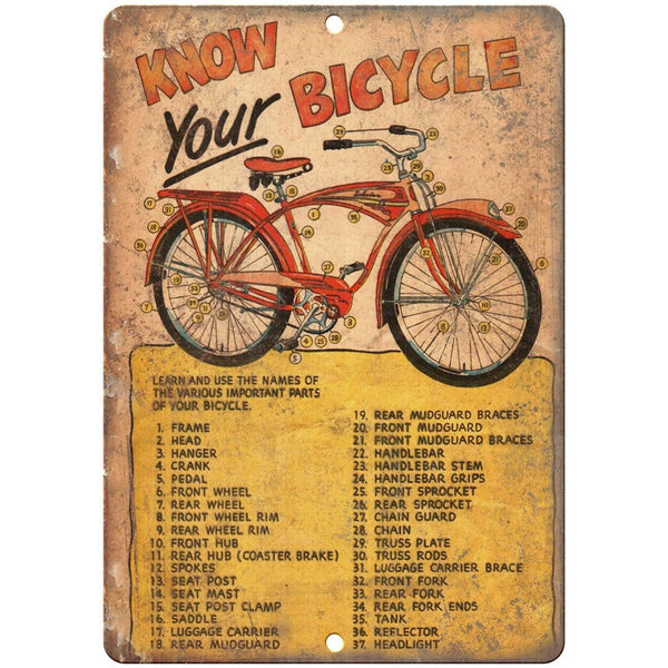 "1949 Schwinn Bicycle Book Know Your Bicycle 10"" x 7"" reproduction metal sign"