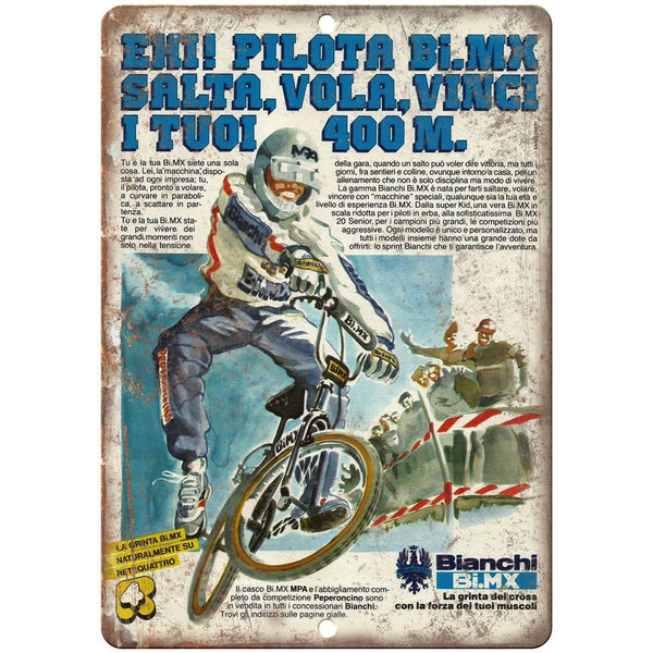 "Bianchi BMX Racing Freestyle Vintage Ad 10"" x 7"" Reproduction Metal Sign B502"
