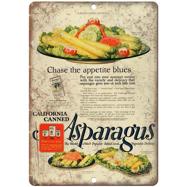 "Ladies Home Journal Asparagus 10"" X 7"" Reproduction Metal Sign N305"