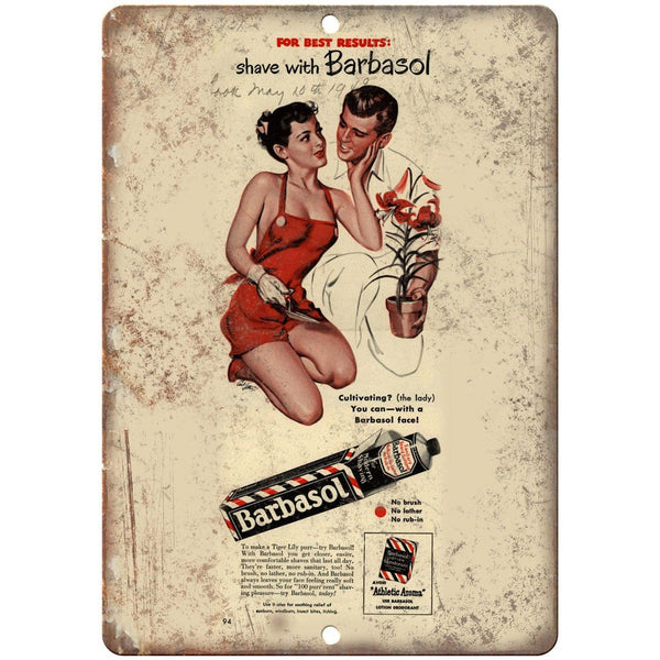 "1949 Barbasol Shaving Cream Vintage Ad 10"" X 7"" Reproduction Metal Sign ZF85"