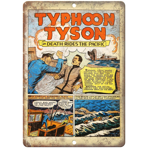 "Typhoon Tyson Comic Strip Ad 10"" x 7"" Reproduction Metal Sign J577"