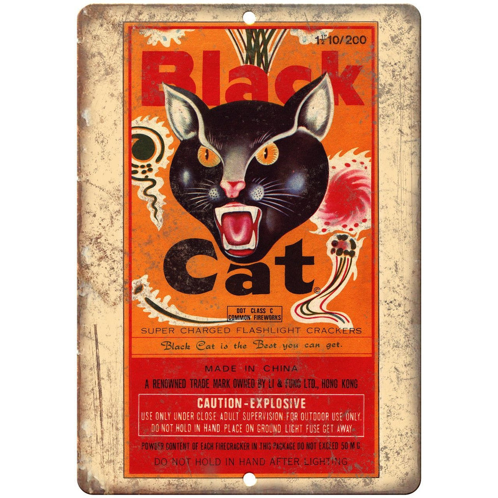 "Black Cat Firecrackers Package Art 10"" X 7"" Reproduction Metal Sign ZD46"