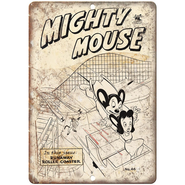 "Mighty Mouse Roller Coaster Comic Art 10"" X 7"" Reproduction Metal Sign J245"