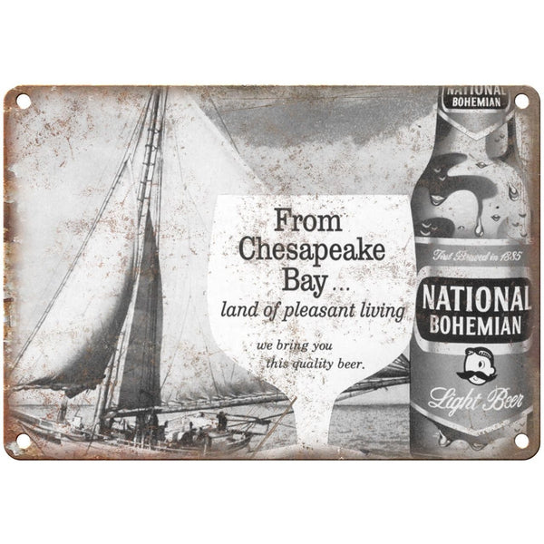 "National Bohemian Beer Mr. Boh's Chesapeake Bay 10"" x 7"" Retro Look Metal Sign"