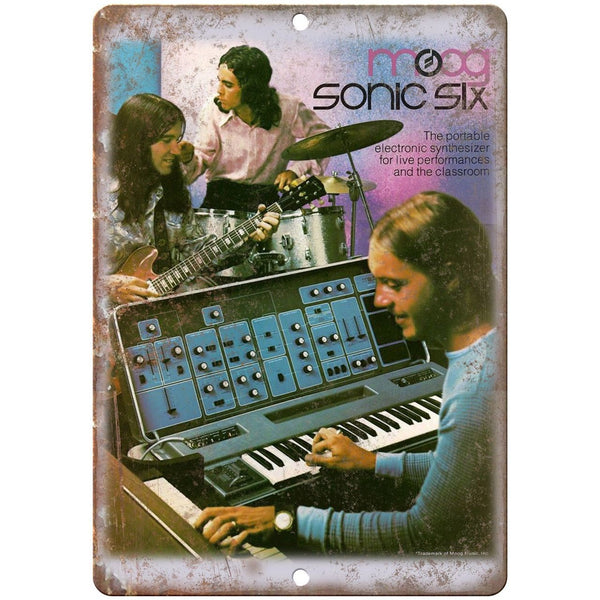 "MOOG Sonic Six Electronic Shynthesizer Vintage Ad 10"" x 7"" Metal Sign E24"
