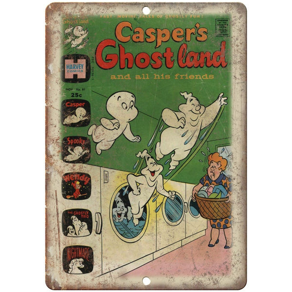 "Casper Ghost Land Harvey Comic Book Cover 10"" X 7"" Reproduction Metal Sign J181"