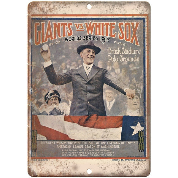 "Brush Stadium 1917 Giants vs. White Sox 10"" x 7"" Reproduction Metal Sign X24"