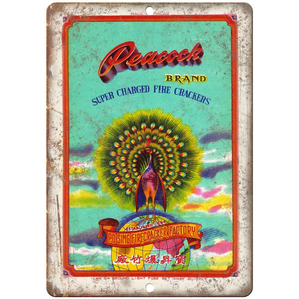 "Peacock Brand FireCracker Package Art 10"" X 7"" Reproduction Metal Sign ZD69"