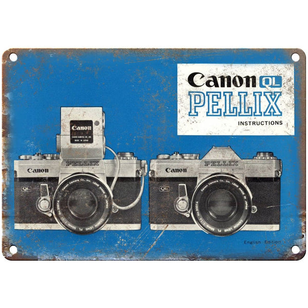 "Canon QL Pellix Film Camera 10"" x 7"" Retro Look Metal Sign"