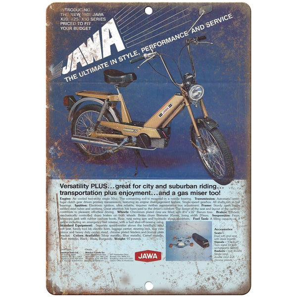 "Jawa Moped Vintage Motorcycle Ad 10"" x 7"" Reproduction Metal Sign A455"