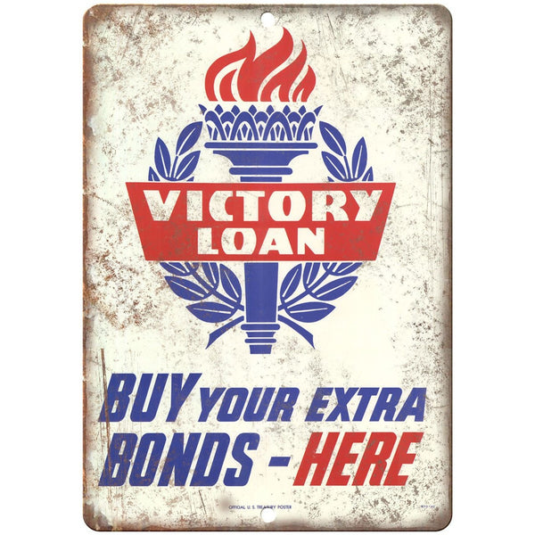 "Victory Loan War Bonds Treasury Poster 10"" x 7"" Reproduction Metal Sign M42"