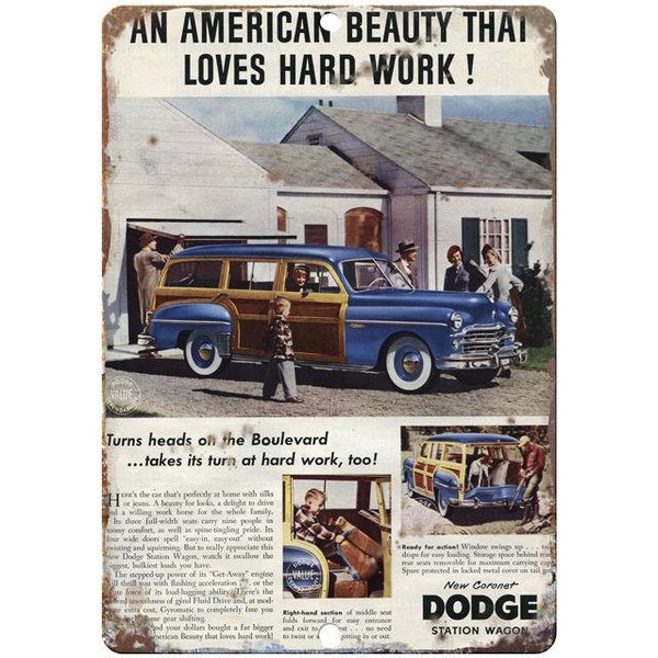 "Dodge Station Wagon Saturday Evening Post Ad 10"" x 7"" Retro Look Metal Sign"