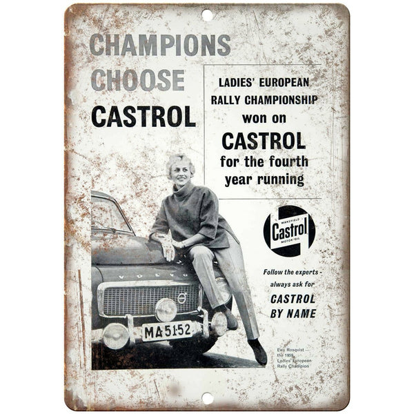 "Champions Choose Castrol Gasoline Ad 10"" X 7"" Reproduction Metal Sign A869"