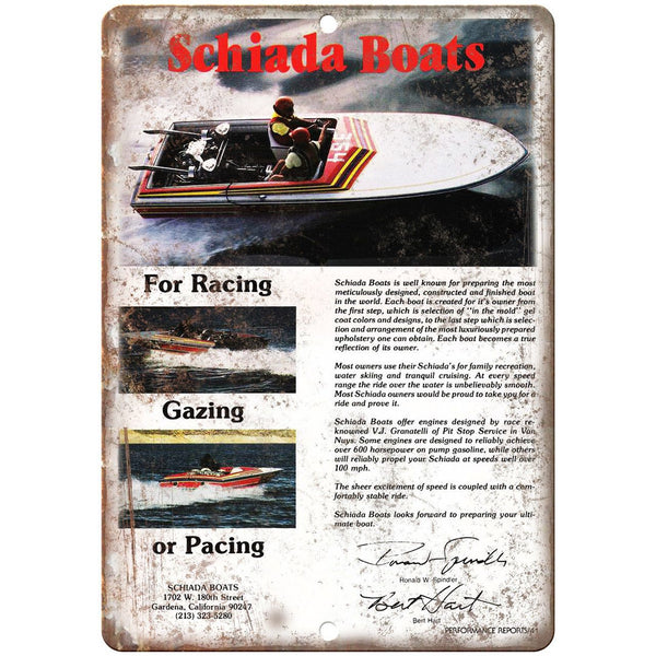 "Schiada Boat Vintage Ad 10"" x 7"" Reproduction Metal Sign L86"