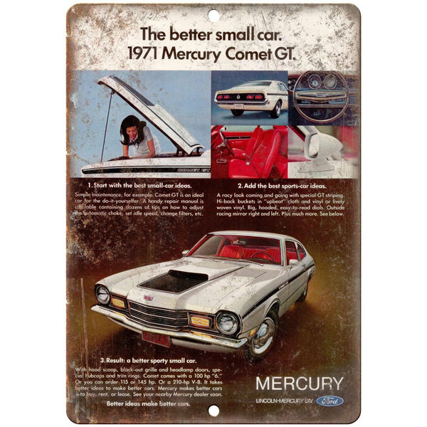 "1971 Mercury Comet GT Lincoln Ford Auto Ad 10"" x 7"" Reproduction Metal Sign A308"